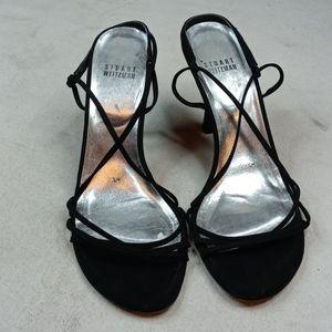 Stuart Weitzman black fabric strappy sandal sz 7.5